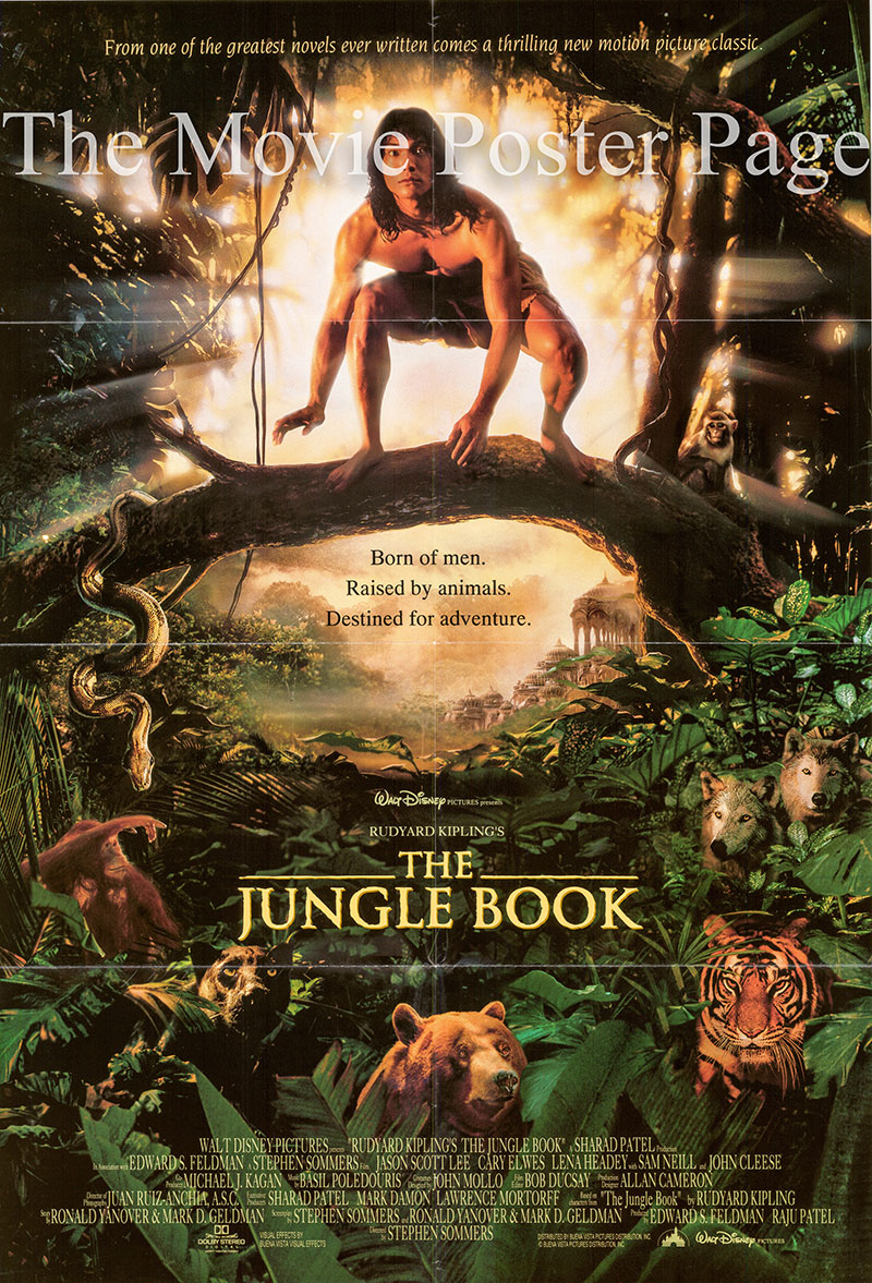 Pictured is a US one-sheet poster for the 1994 Stephen Sommers film The Jungle Book starring Jason Scott Lee.