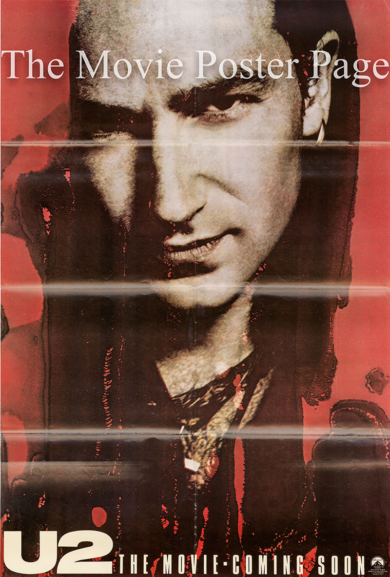 Pictured is a Bono character poster for the 1988 Phil Joanou film U2 Rattle & Hum starring U2.