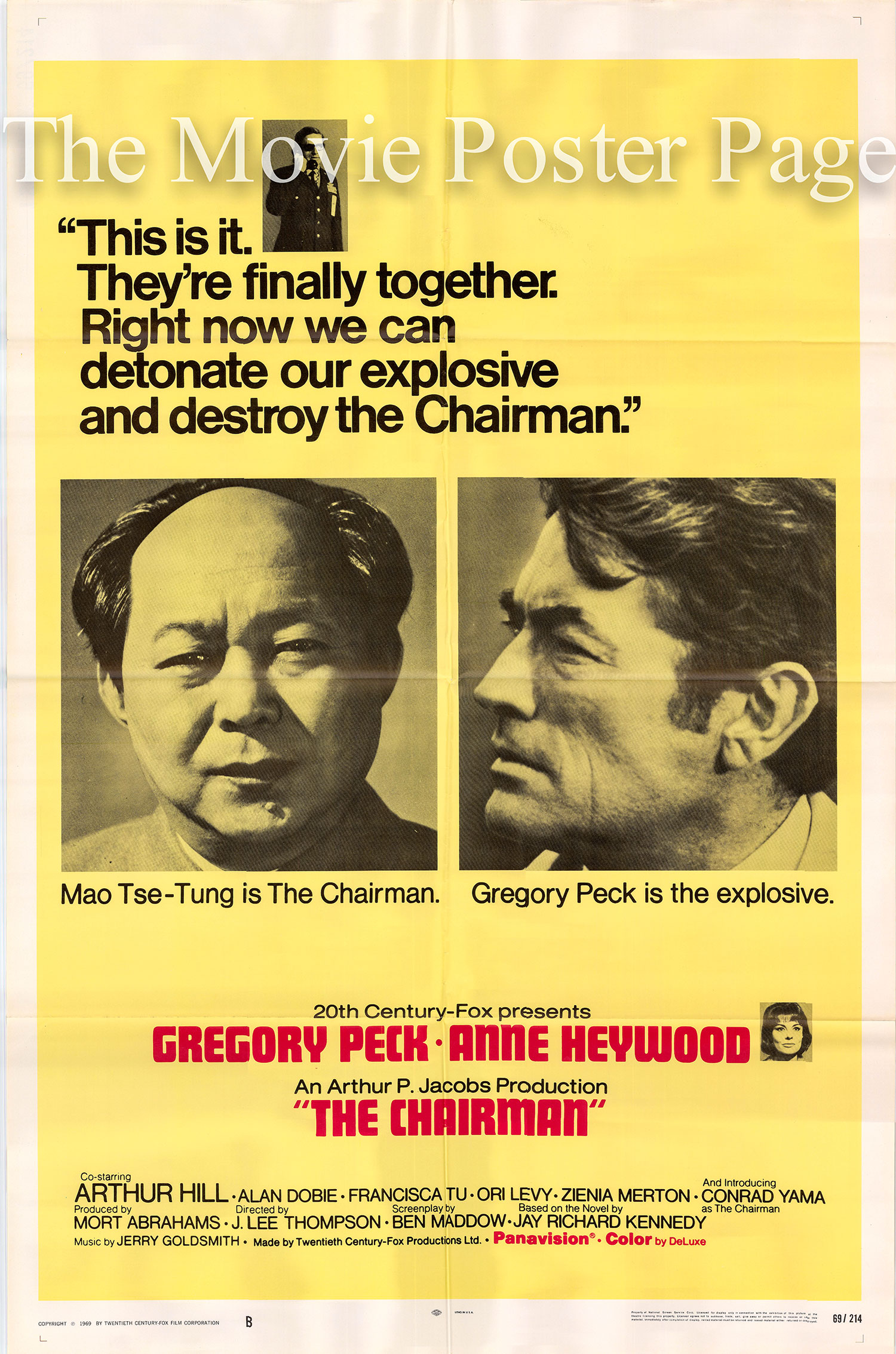 Pictured is a US one-sheet promotional poster for the 1969 J. Lee Thompson film The Chairman starring Gregory Peck.