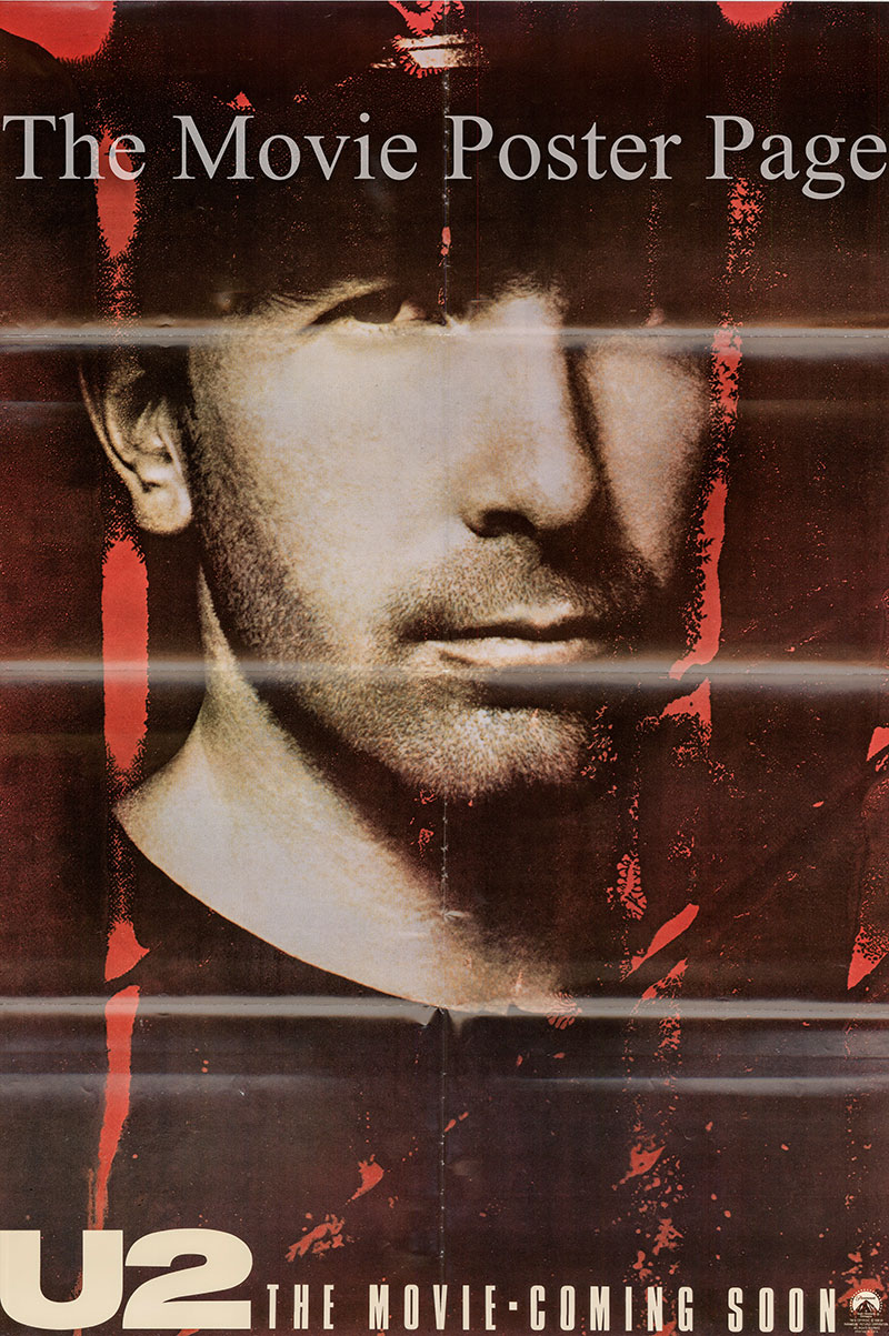 Pictured is a The Edge character one-sheet for the 1988 Phil Joanou film U2 Rattle & Hum starring U2.