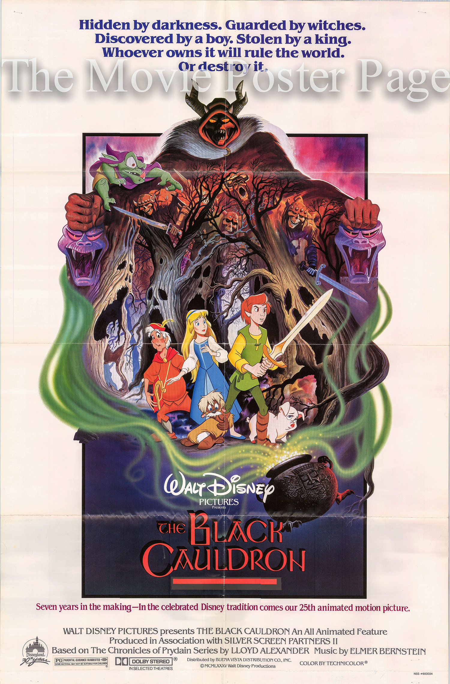 Pictured is a US one-sheet poster for the 1985 Ted Berman and Richard Rich film The Black Cauldron, starring Grant Bardsley as the voice of Taran.