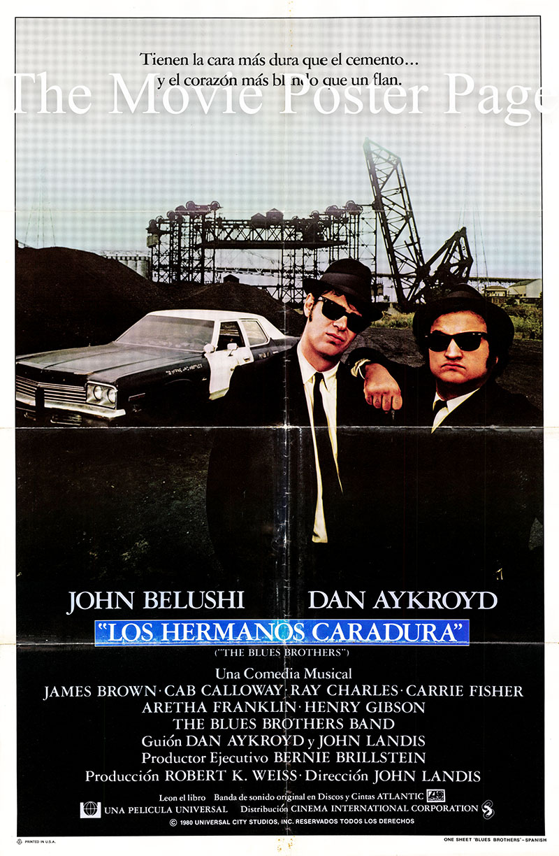 Pictured is s Spanish one-sheet poster for the 1980 John Landis film The Blues Brothers starring John Belushi and Dan Aykroyd.