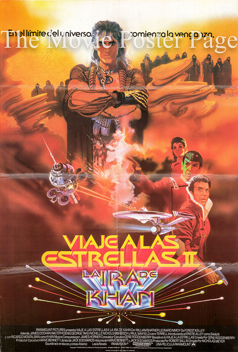 Pictured is a Spanish one-sheet poster for the 1982 Nicholas Meyer film Star Trek II: The Wrath of Khan.