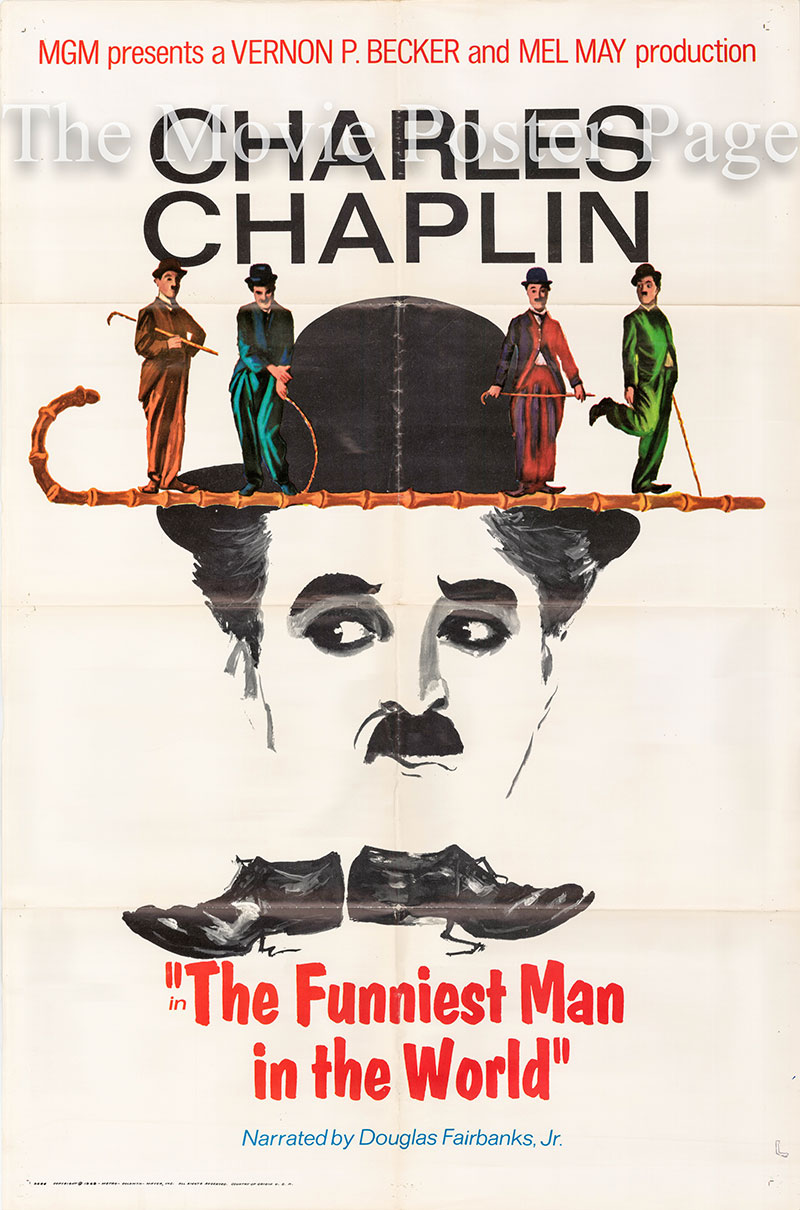 Pictured is a US one-sheet for the 1968 Vernon P. Becker film The Funniest Man in the World starring Charles Chaplin.
