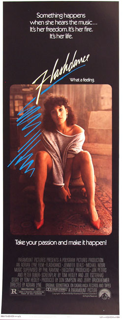Pictured is a US insert promotional poster for the 1983 Adrian Lyne film Flashdance starring Jennifer Beals.