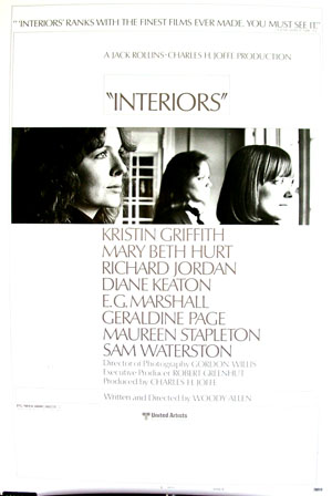 Picutred is a US promotional poster for the 1978 Woody Allen film Interiors starring Diane Keaton.