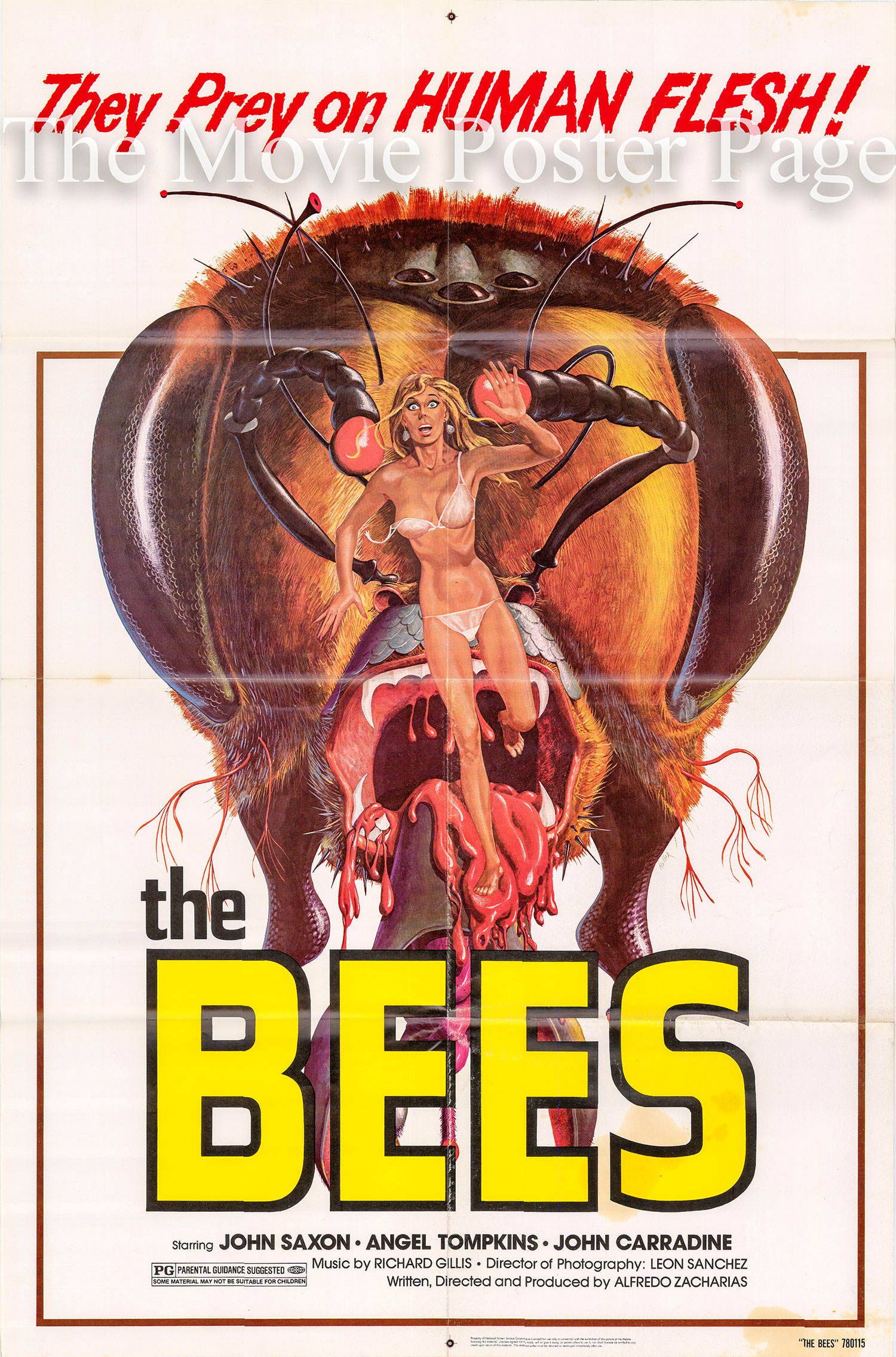 Pictured is a US one-sheet poster for the 1978 Alfredo Zacarias film The Bees starring John Saxon.