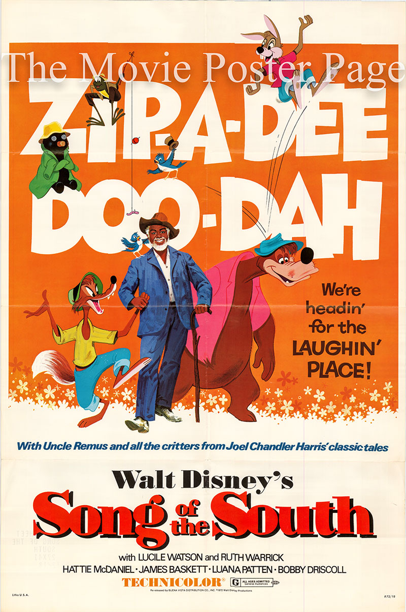 Pictured is a US one-sheet poster for a 1972 rerelease of the 1946 Wilfred Jackson and Harve Foster film Song of the South starring Ruth Warrick as Sally.