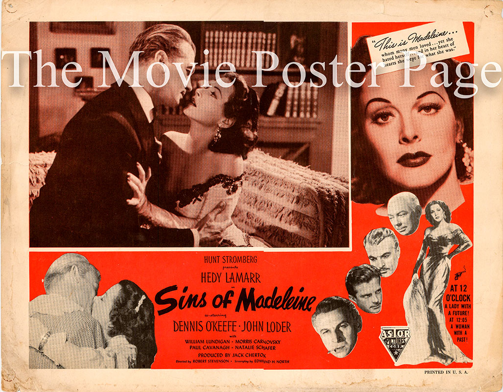 Pictured is an undated rerelease US lobby card for the 1947 Robert Stevenson film Sins of Madeleine starring Hedy Lamarr as Madeleine Damien.