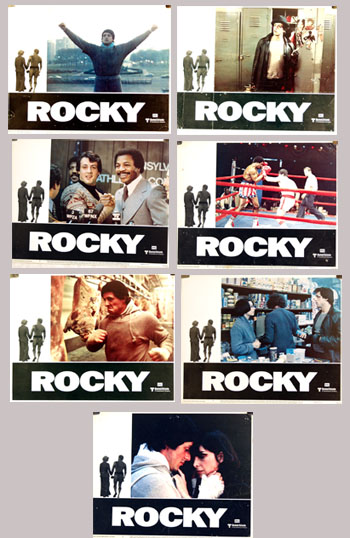 Pictured are seven lobby cards for the 1976 John G. Avildsen film Rocky starring Sylverster Stallone as Rocky.