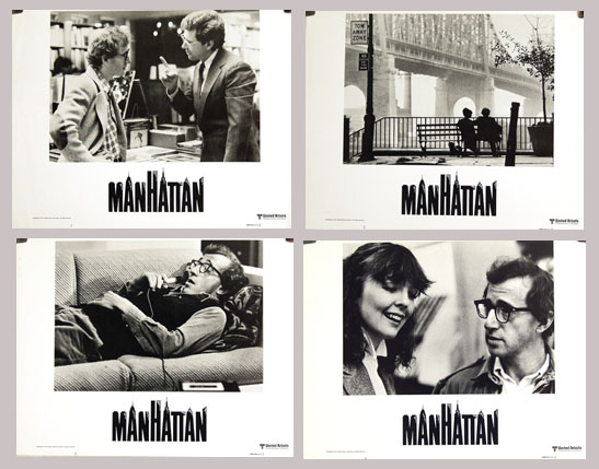 Pictured are four US lobby cards from the 1979 Woody Allen film Manhattan starring Woody Allen.