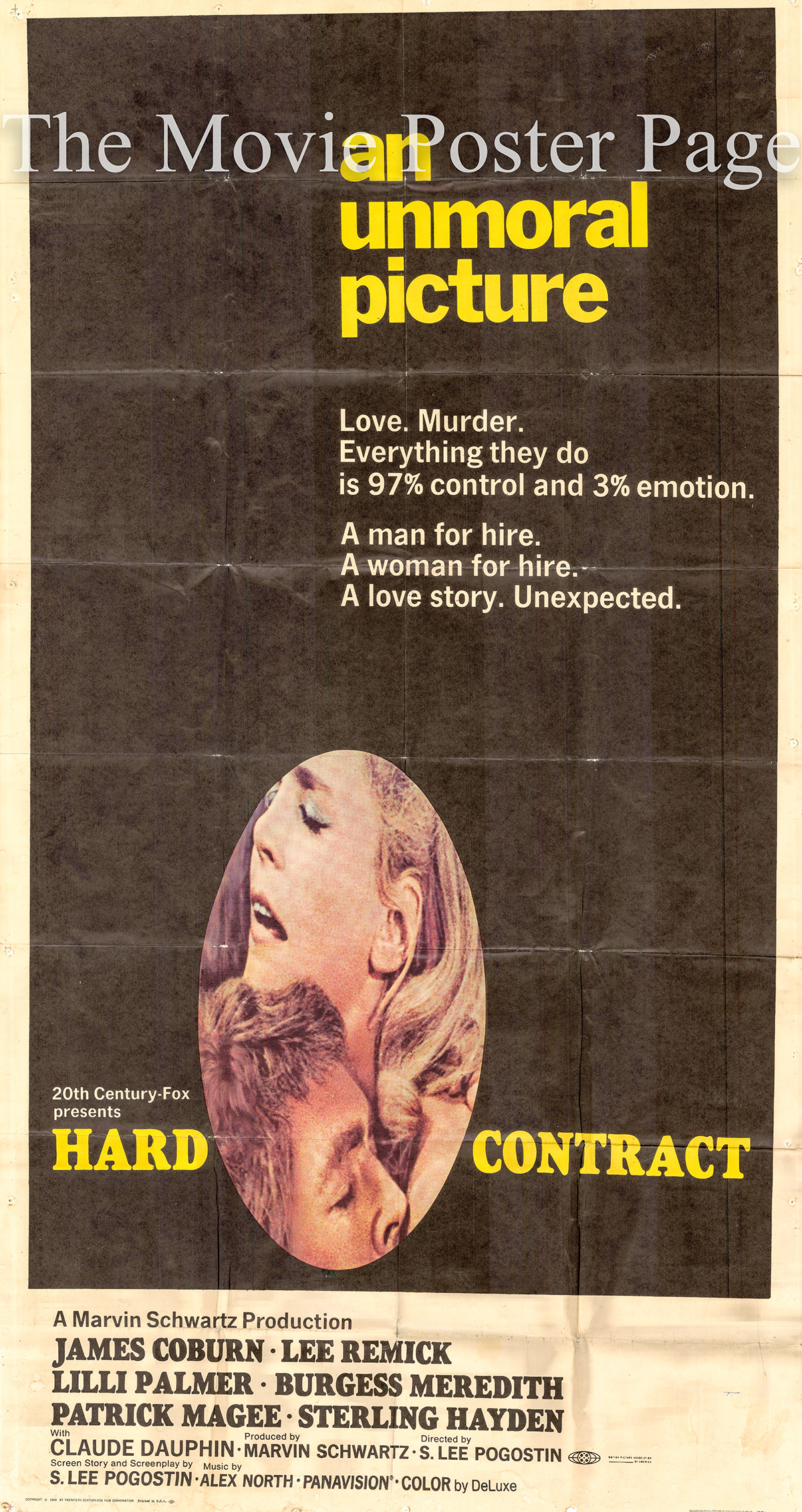 Pictured is a US three-sheet poster for the 1969 S. Lee Pogostin film Hard Contract starring James Coburn as John Cunningham.