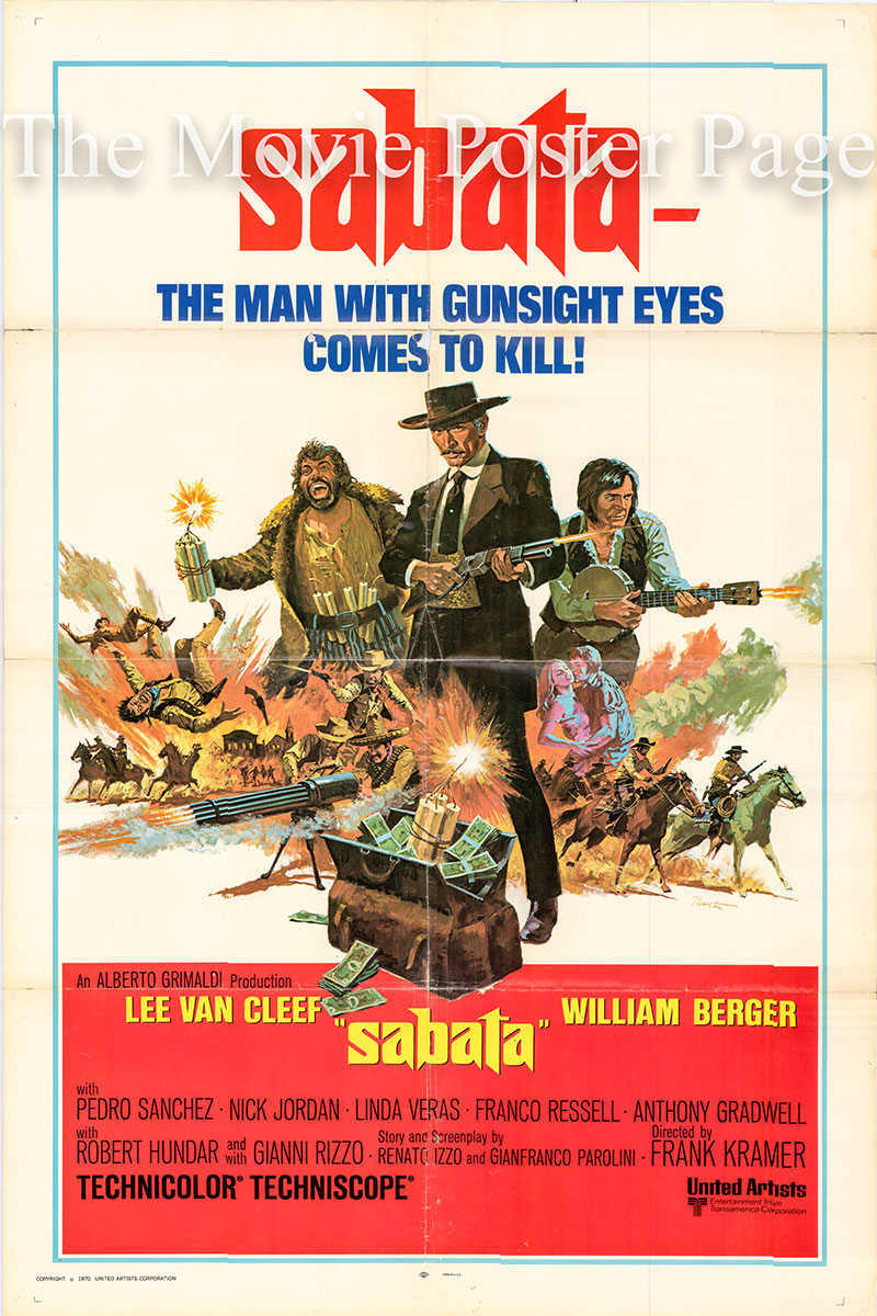 Pictured is a US one-sheet poster for the 1969 Gianfranco Parolini film Sabata starring Lee Van Cleef as Sabata.
