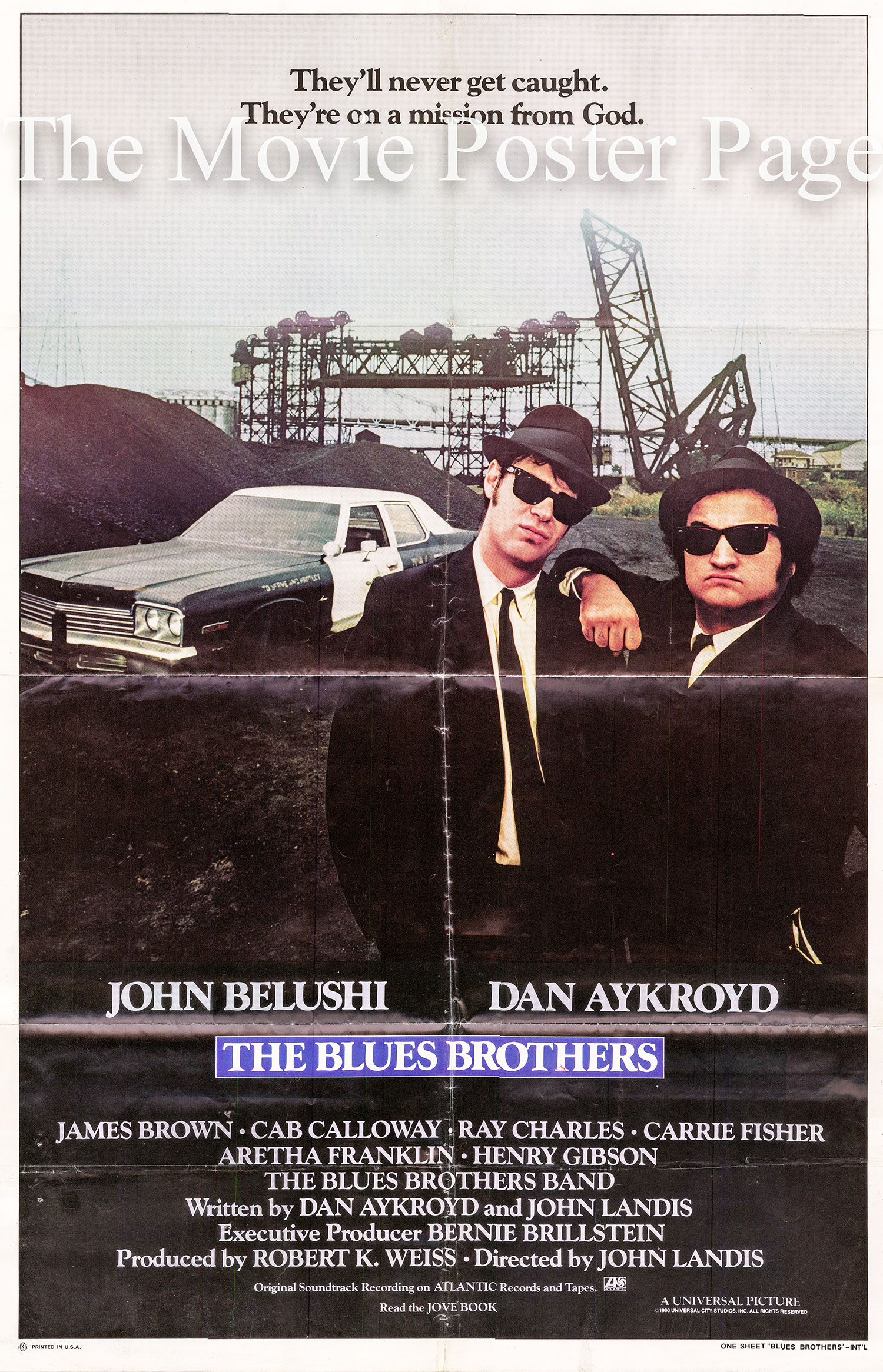 Pictured is a US one-sheet promotional poster for the 1980 John Landis film The Blues Brothers starring John Belushi and Dan Aykroyd.
