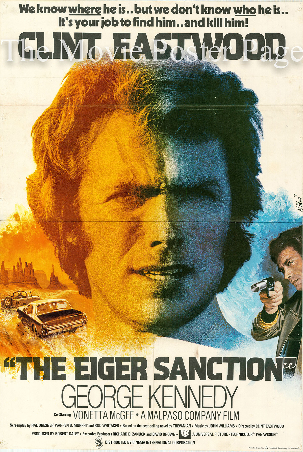 Pictured is a UK one-sheet poster designed by Jean Mascii for the 1975 Clint Eastwood film The Eiger Sanction starring Clint Eastwood.