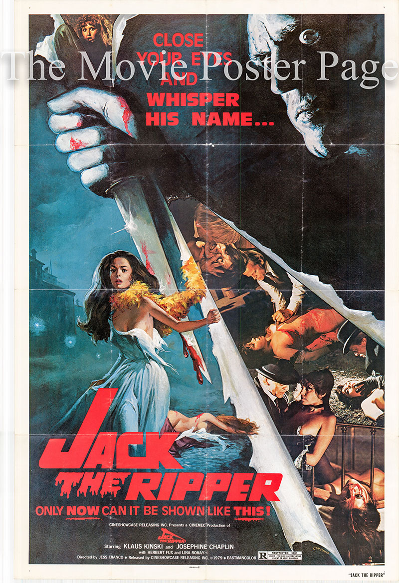 Pictured is a US one-sheet poster for the 1976 Jess Franco film Jack the Ripper starring Klaus Kinski as Dr. Dennis Orloff.