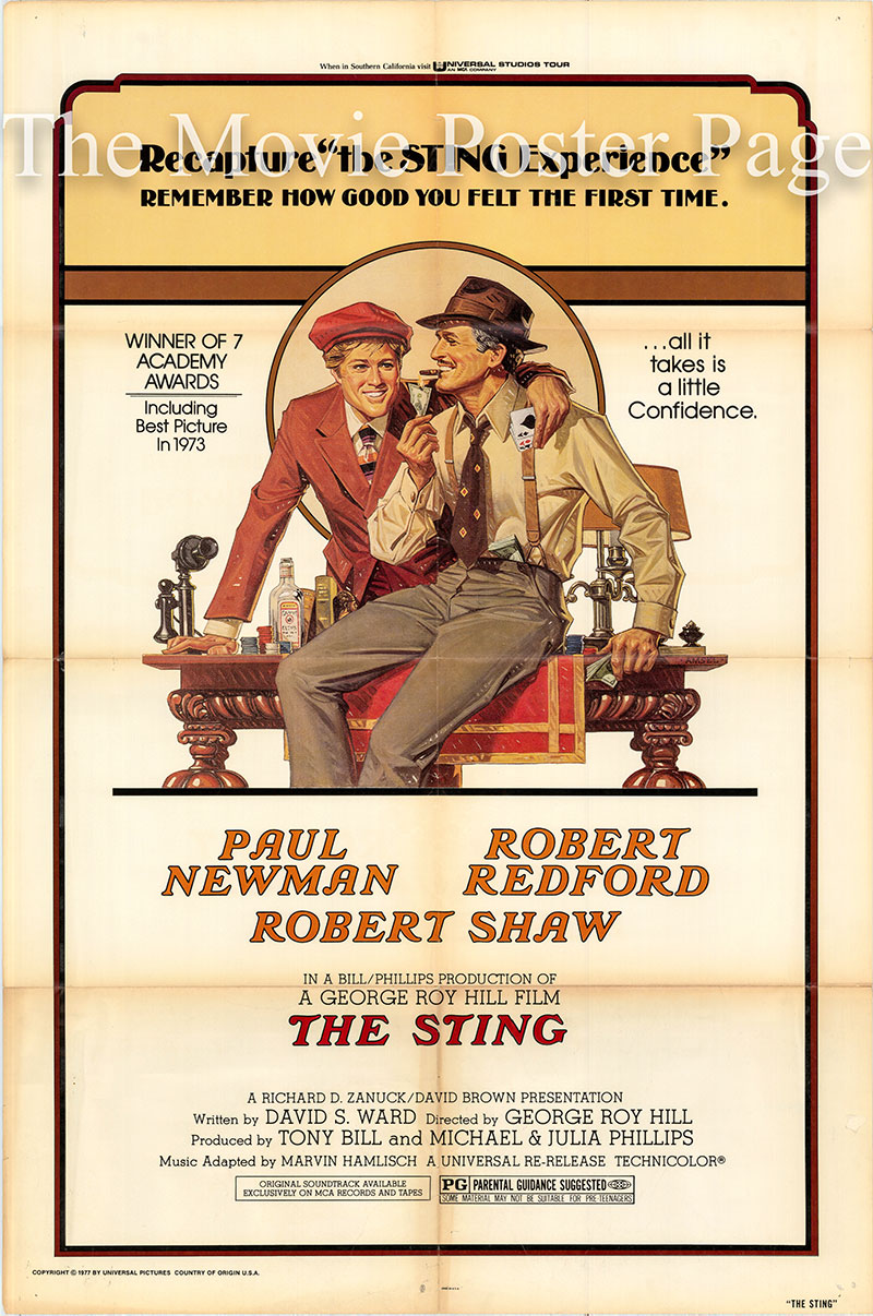Pictured is a US one-sheet poster for a 1977 rerelease of the 1973 George Roy Hill film The Sting starring Paul Newman as Henry Gondorff.