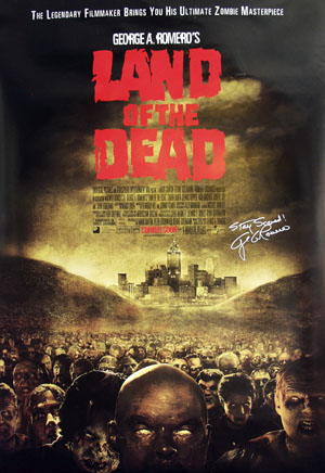 Pictured is a US promotional poster for the 2005 George A. Romero film Land of the Dead starring Simon Baker with Dennis Hopper.