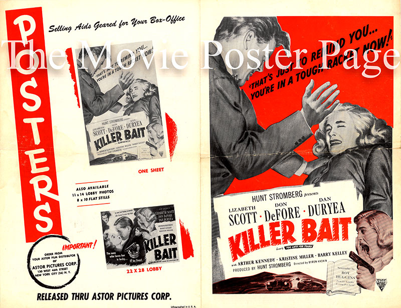 Pictured is a press sheet for a 1955 release of the 1949 Byron Haskin film Too Late for Tears under the title Killer Bait, starring Lizabeth Scott as Jane Palmer.