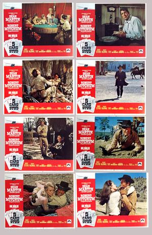 Pictured is a US lobby card set for the 1968 Henry Hathaway film Five Card Stud starring Dean Martin and Robert Mitchum.