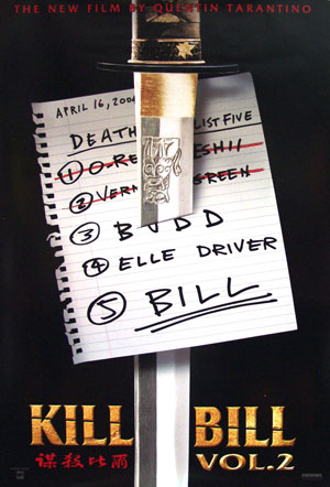 Pictured is a US promotional advance one-sheet poster for the 2004 Quentin Tarantino film Kill Bill starring Uma Thurman.