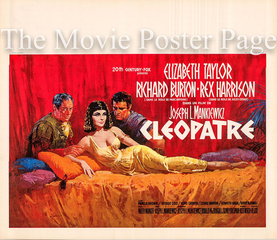 Pictured is a Belgian poster for the 1963 Joseph L. Mankiewicz film Cleopatra starring Elizabeth Taylor as Cleopatra.