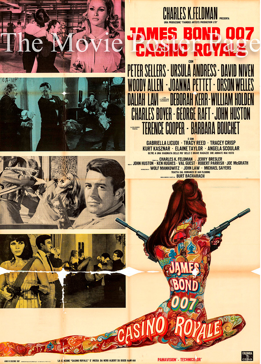 Pictured is an Italian four-sheet poster for the 1967 Ken Hughes Casino Royale starring Peter Sellers as Evelyn Tremble.