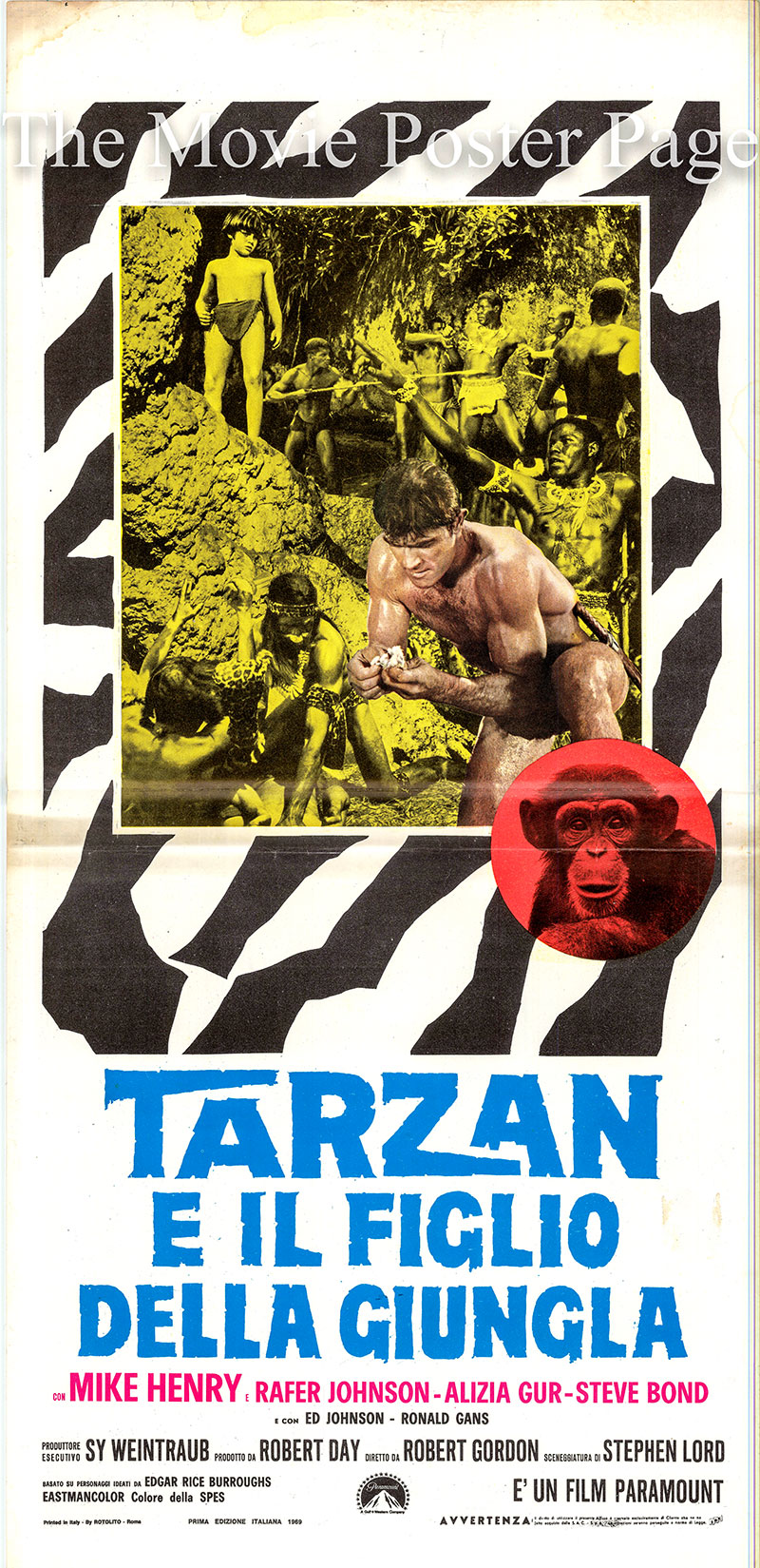 Pictured is an Italian locandina poster for the 1968 Robert Gordon film Tarzan and the Jungle Boy starring Mike Henry as Tarzan.
