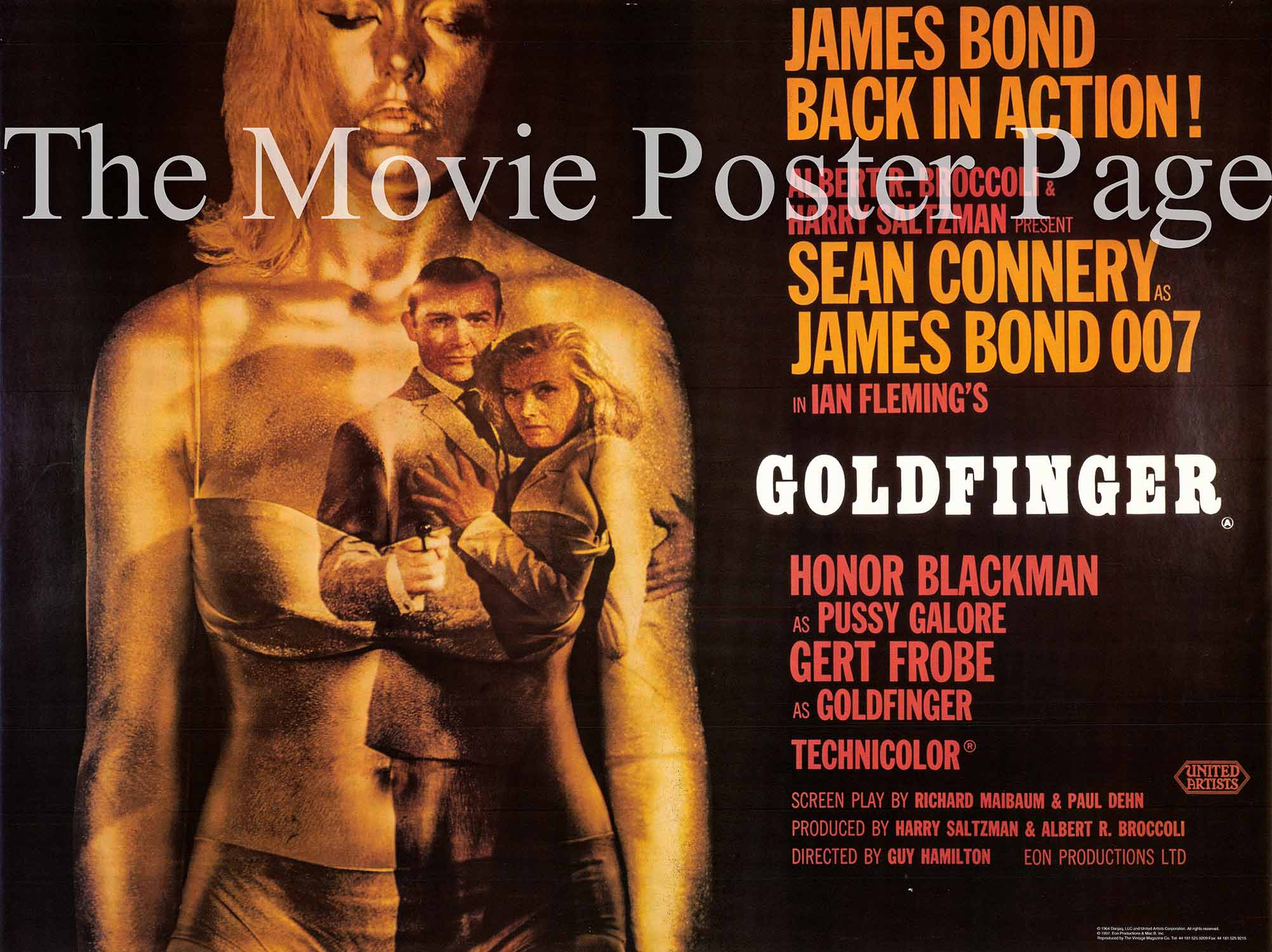 Pictured is a reprint of a UK quad poster for the 1964 Guy Hamilton film Goldginger starring Sean Connery as James Bond.
