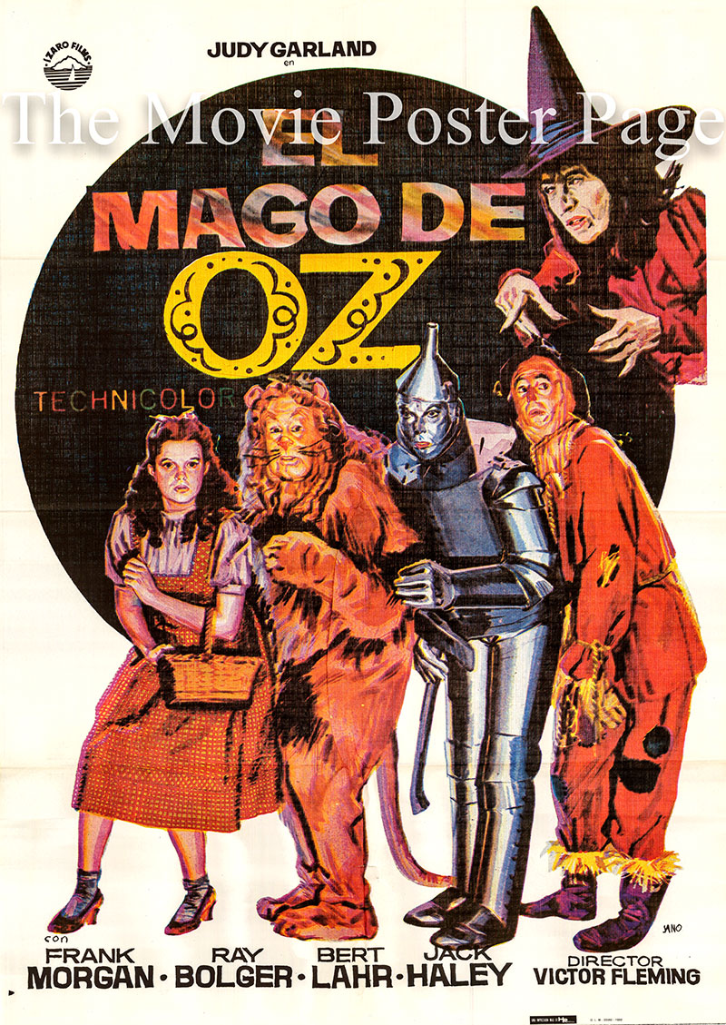Pictured is a Spanish one-sheet poster for a 1982 rerelease of the 1939 Victor Fleming film The Wizard of Oz starring Judy Garland as Dorothy Gale.