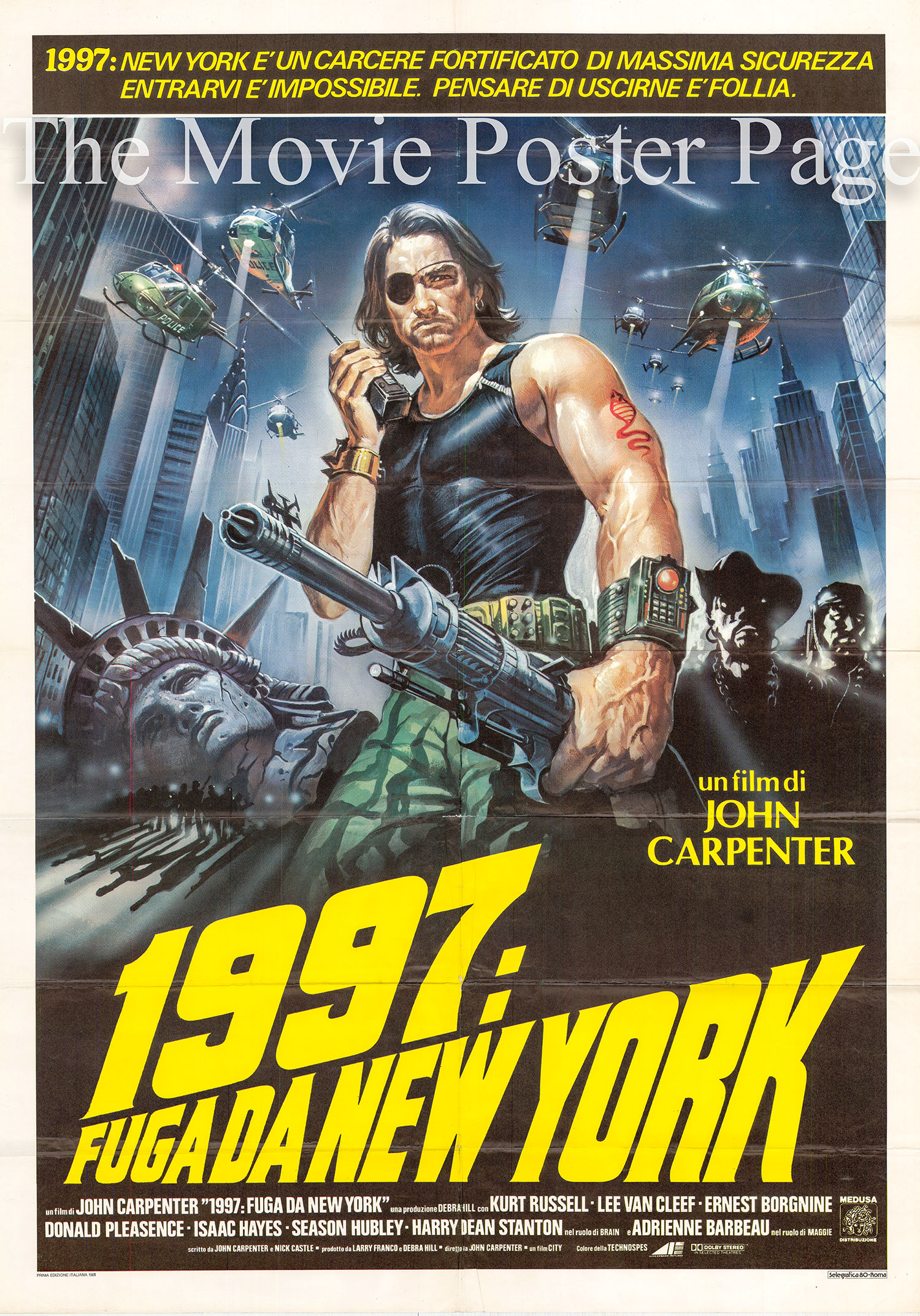 Pictured is an Italian two-sheet promotional poster for the 1981 John Carpenter film Escape from New York starring Kut Russell.