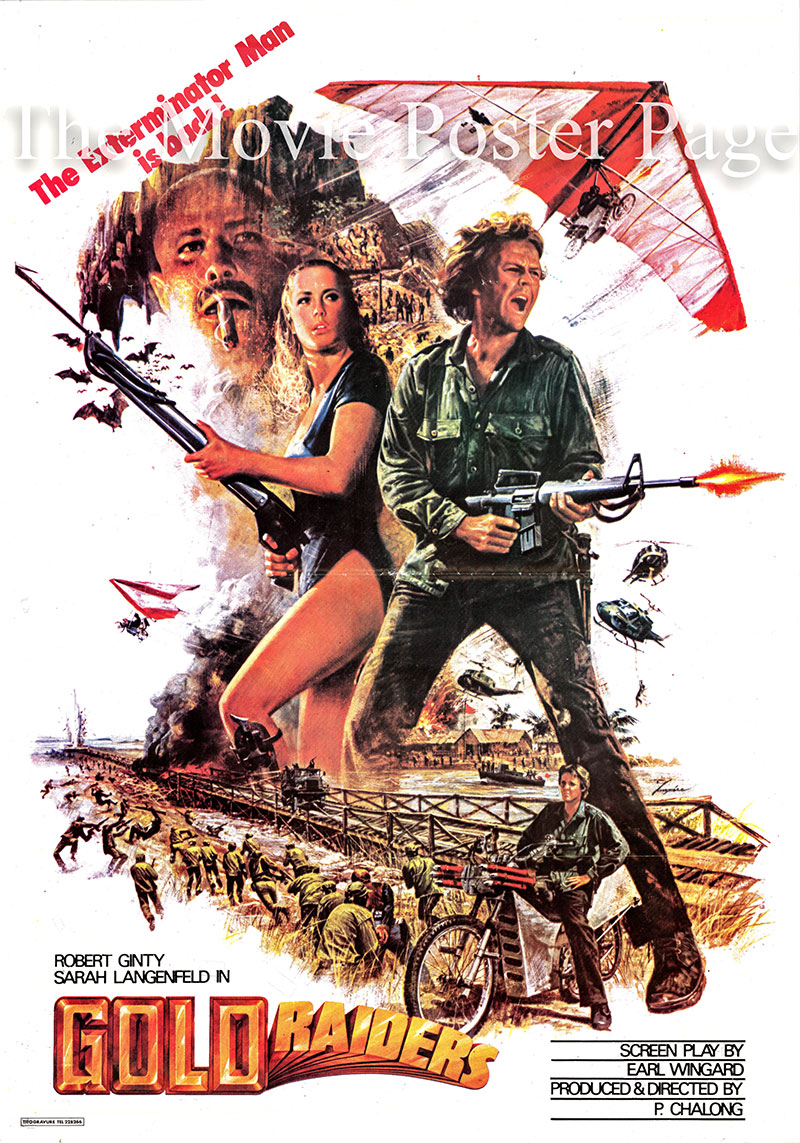 Pictured is a Lebanese promotional poster for the 1983 Philip Chalong film Gold Raiders, starring Robert Ginty.
