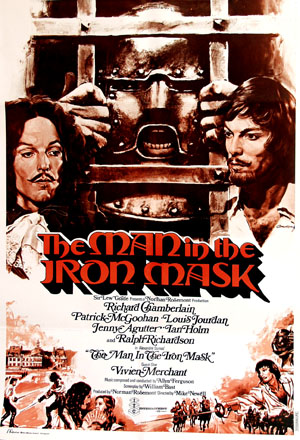 Pictured is a Lebanese promotional poster for the 1977 Mike Newell film the Man in the Iron Mask, starring Richard Chamberlain, based on a novel by Alexandre Dumas.