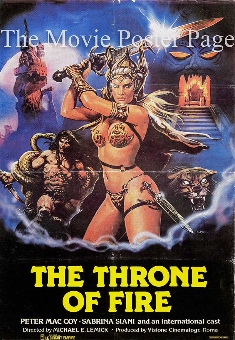 Pictured is an Lebanese promotional poster for the 1982 Franco Prosperi film Throne of Fire, starring Pietro Torrisi.