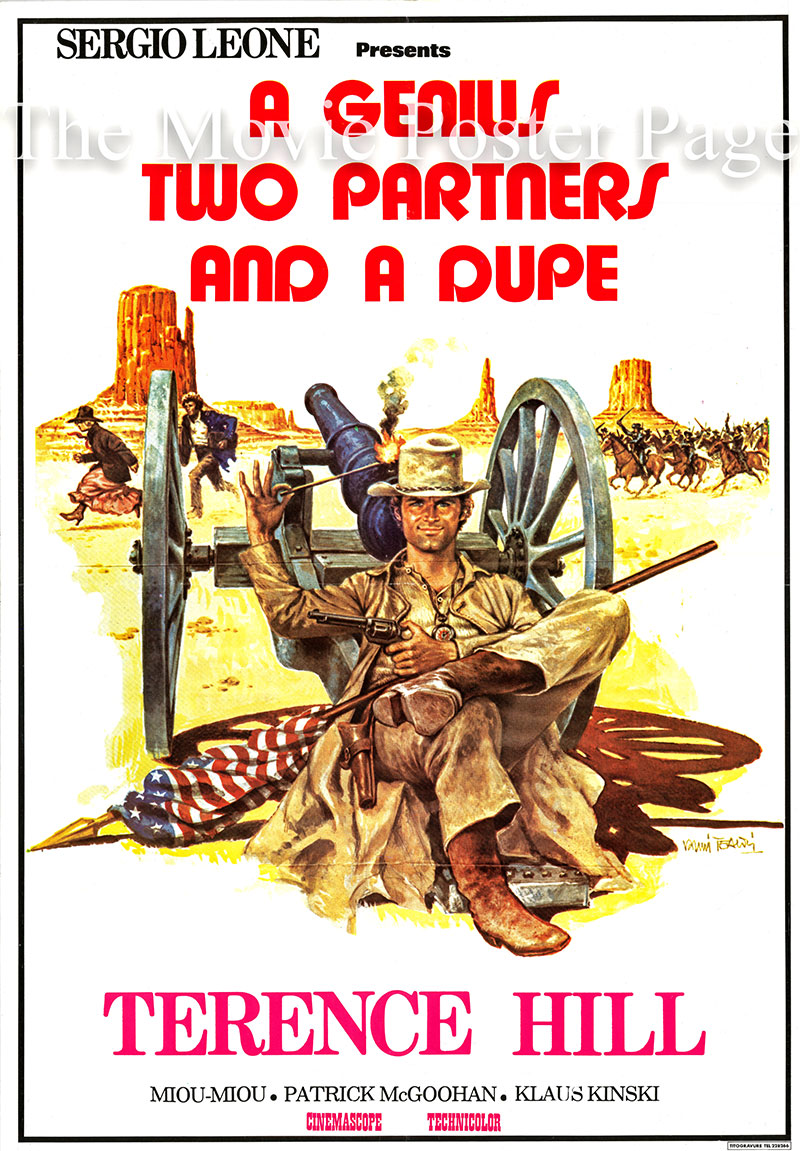 Pictured is a Lebanese promotional poster for the 1975 Damiano Damiani film A Genius, Two Partners and a Dupe, starring Terence Hill as Joe Thanks.