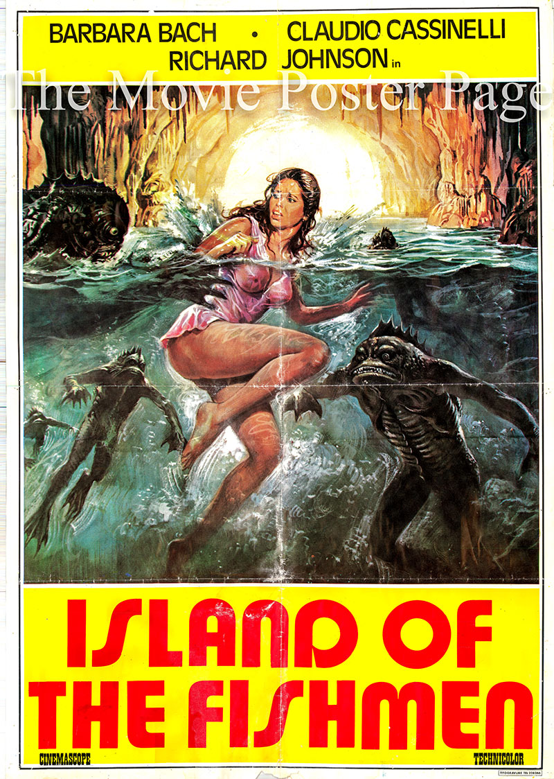 Pictured is a Lebanese promotional poster for the 1979 Sergio Martino film Island of the Fishmen, starring Barbara Bach.