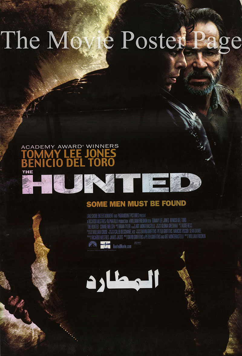 Pictured is an Egyptian promotional poster for the 2003 William Friedkin film The Hunted, starring Tommy Lee Jones.