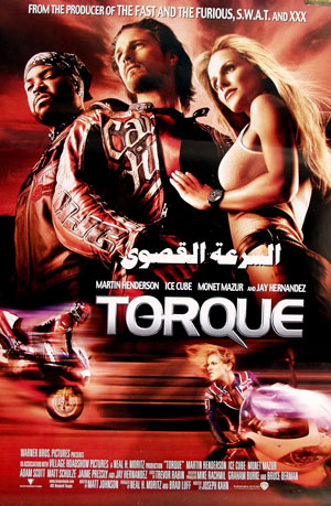 Pictured is an Egyptian promotional poster for the 2004 Joseph Kahn film Torque,starring Ice Cube.