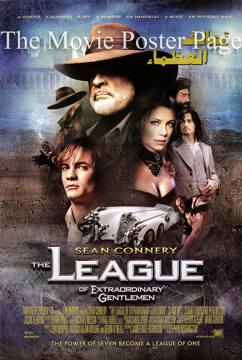 This is an Egyptian poster for the 2003 Stephen Norrington film The League of Extraordinary Gentlemen starring Sean Connery as Allan Quatermain.