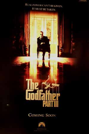 Pictured is a US promotional poster for the 1990 Francis Ford Coppola film Godfather III starring Al Pacino.