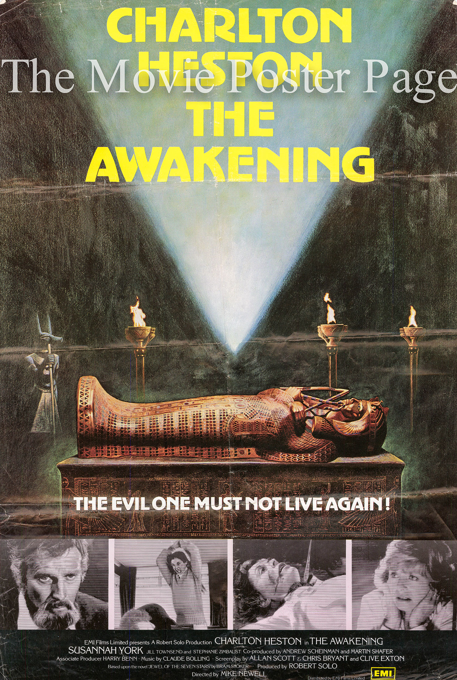 Pictured is a US one-sheet for the 1980 Mike Newell film The Awakening starring Charlton Heston.