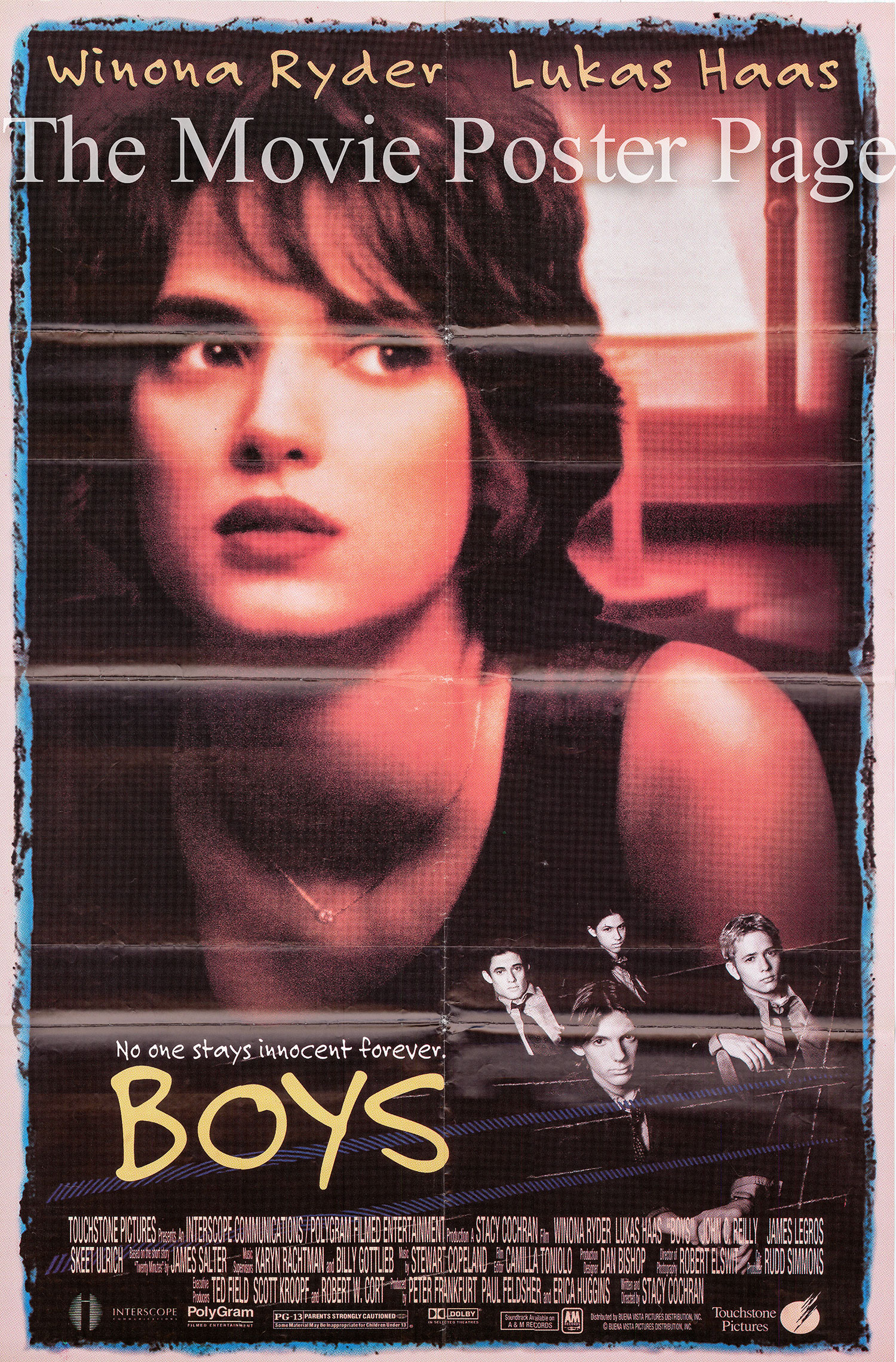 Pictured is an international one-sheet poster for the 1996 Stacy Cochran film Boys starring Winona Ryder.