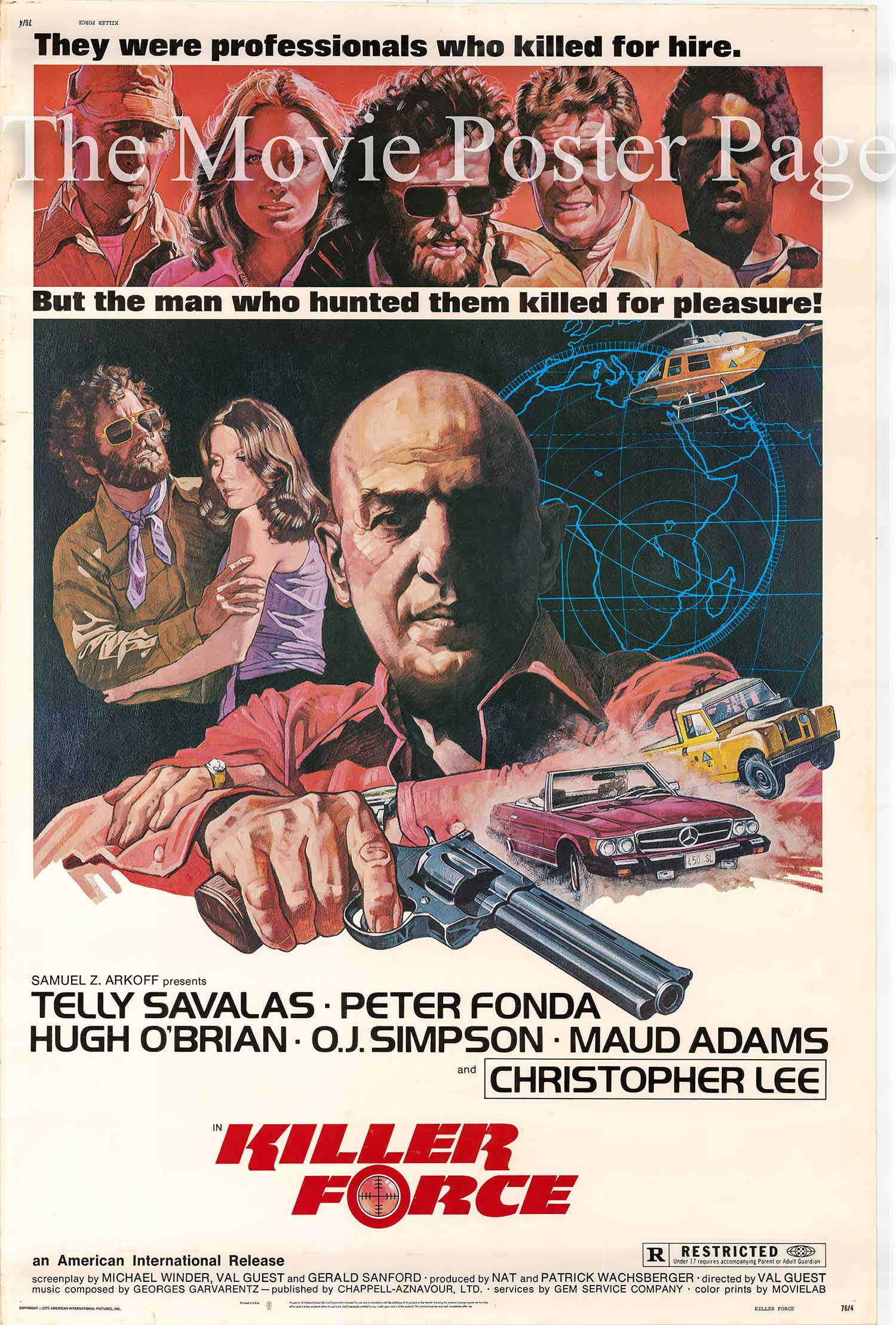 Pictured is a US 40x60 poster made to promote the 1976 Val Guest film Killer Force starring Telly Savalas.
