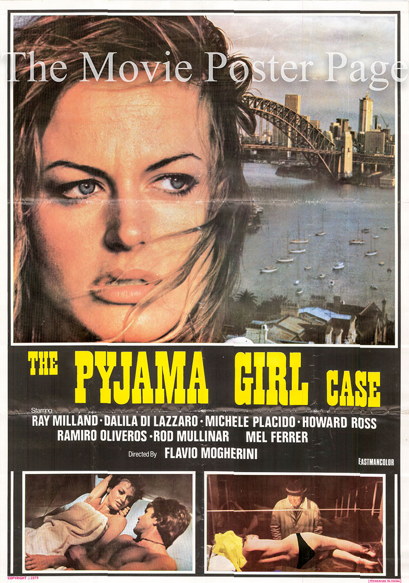 Pictured is an Lebanese one-sheet poster for a 1979 rerelease of the 1977 Flavio Mogherini film The Pyjama Girl Case starring Ray Milland.