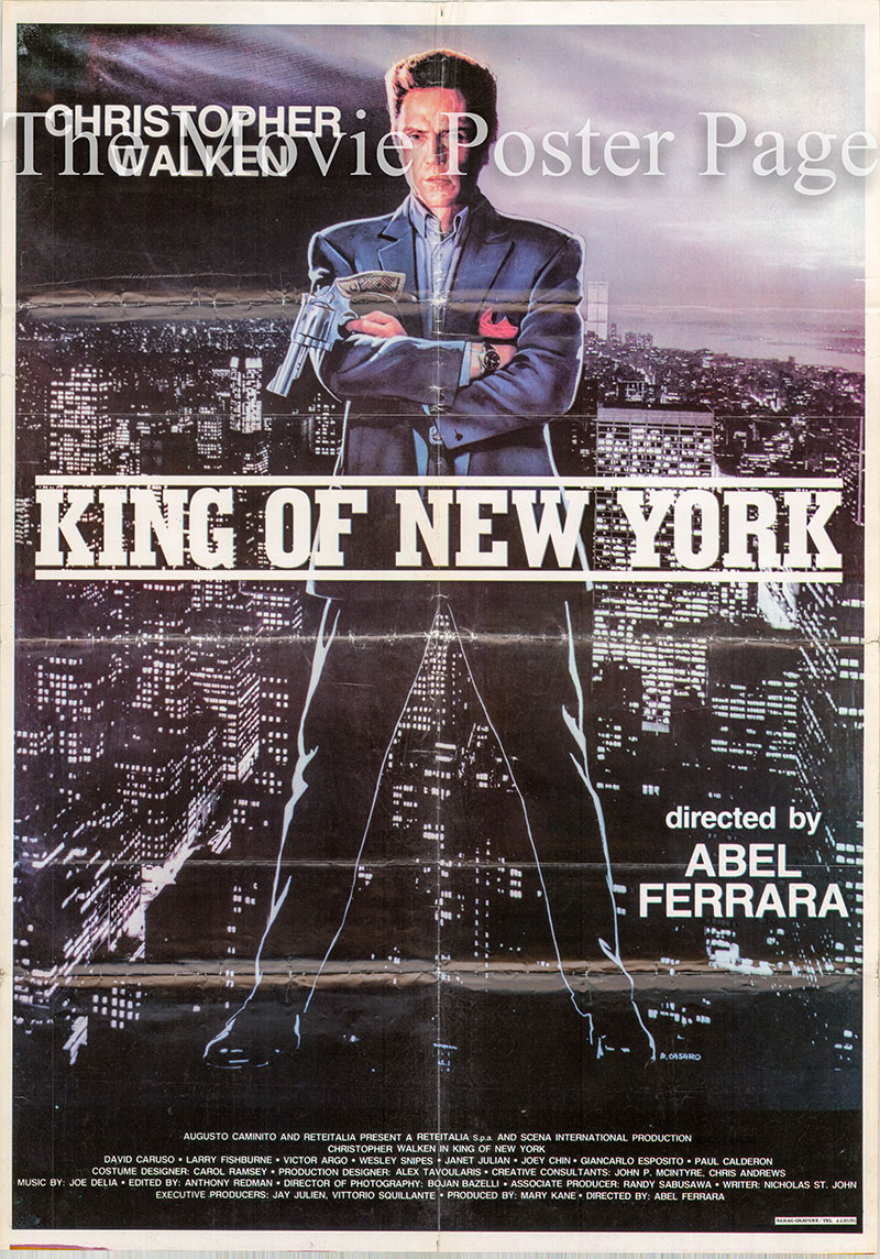 Pictured is a Lebanese one-sheet poster for the 1990 Abel Ferrara film King of New York starring Christopher Walken.
