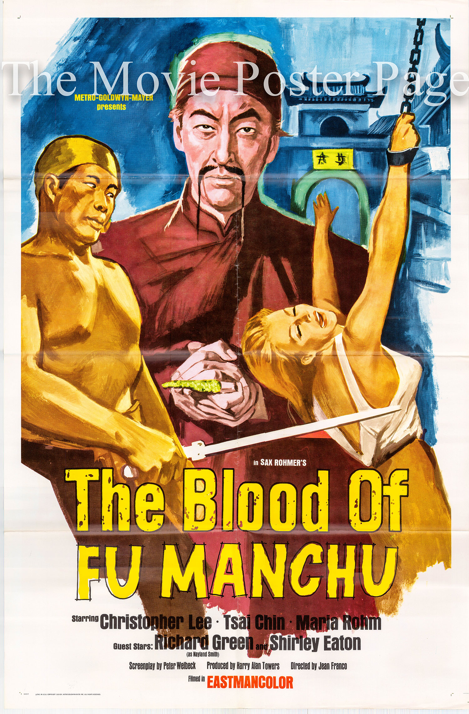 Pictured is a US one-sheet for the 1968 Jesus Franco film The Blood of Fu Manchu starring Christopher Lee as Fu Manchu.