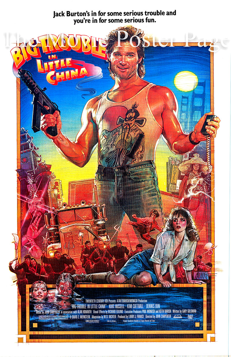 This is a US one-sheet poster for the 1986 John Carpenter film Big Trouble in Little China starring Kurt Russell as Jack Burton.