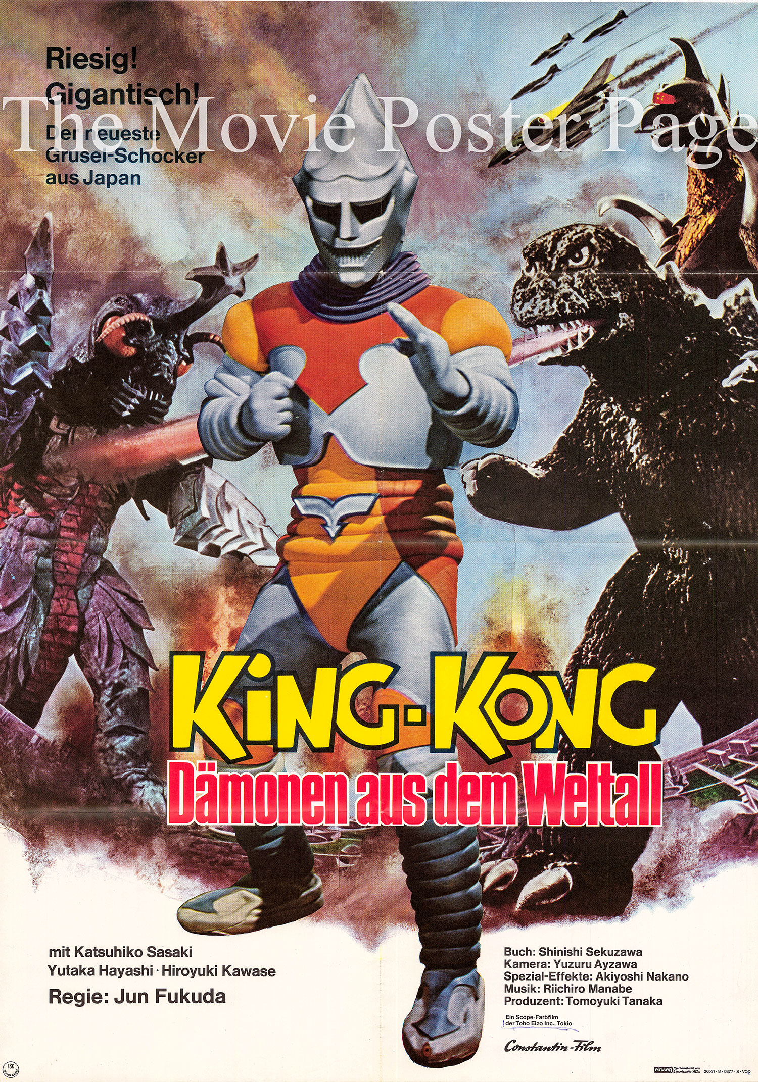 Pictured is a German one-sheet promotional poster for the 1973 Jun Fukuda film Godzilla vs. Megalon starring Katsuhiko Sasaki as Inventor Goro Ibuki.