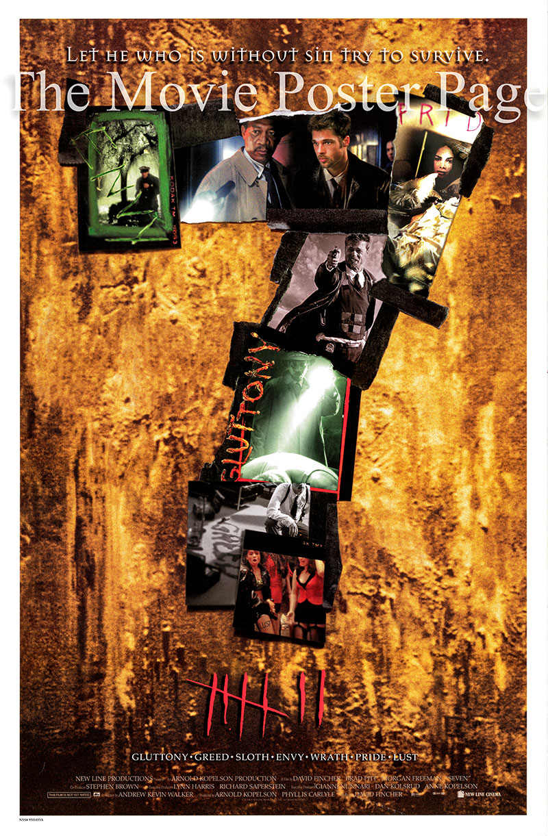 PIctured is a US one-sheet poster for the 1995 David Fincher film Seven starring Brad Pitt as Mills.