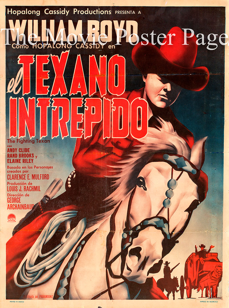 Pictured is a Mexican poster for the 1947 George Archainbaud film <i>Dangerous Gamble</i> starring William Boyd as Hopalong Cassidy.